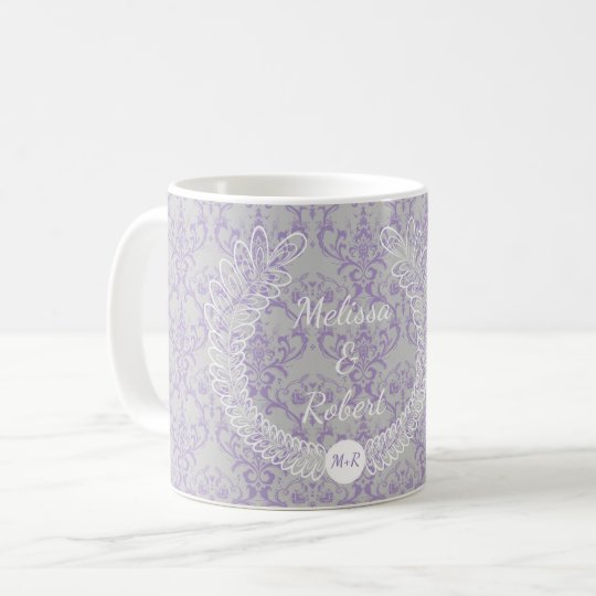 Lavender Grey White Floral Wreath Monogram Wedding Coffee