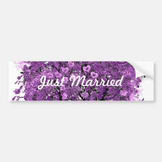 Lavender Heart Leaf Tree Wedding Bumper Sticker