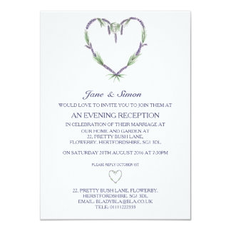 Lavender Heart Wedding Evening Invitation