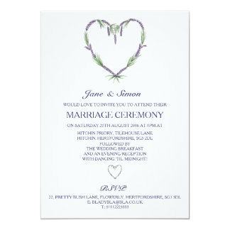 Lavender Heart Wedding Invitation