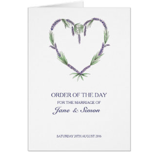 Lavender Heart Wedding ~ Order of the Day/Service Card