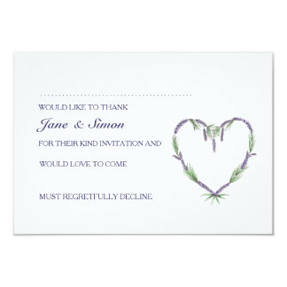 Lavender Heart Wedding RSVP card