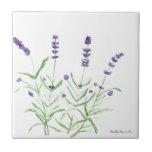 Lavender herb botanical print small square tile