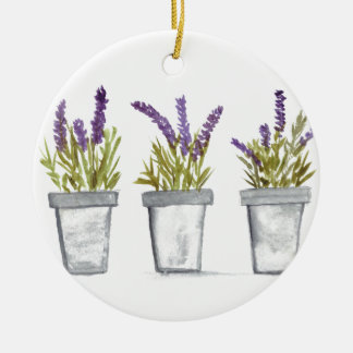 Lavender herb pots round ceramic decoration