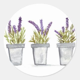 Lavender herb pots round sticker