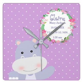 Lavender Hippo Ballerina Nursery room Birth Stats Square Wall Clock