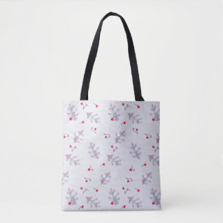 Lavender Holly Leaves Pattern Holiday Tote Bag