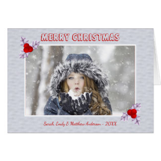Lavender Holly Leaves Snow Holiday Greeting Card