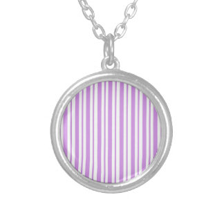 Lavender Horizontal Pinstripe Silver Plated Necklace