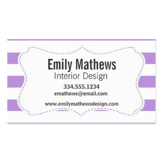 Lavender Horizontal Stripes Striped Business Card Templates