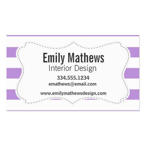 Lavender Horizontal Stripes; Striped Business Card Templates