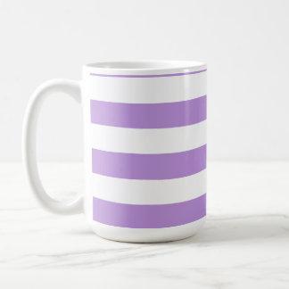 Lavender Horizontal Stripes; Striped Classic White Coffee Mug