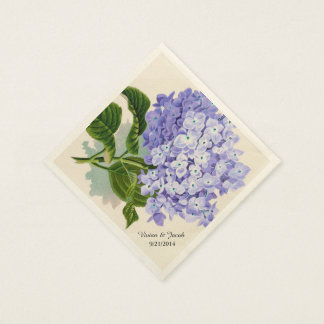 Lavender Hydrangea Custom Wedding Napkins Disposable Serviette
