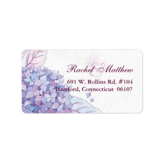 Lavender Hydrangeas Wedding Address Labels
