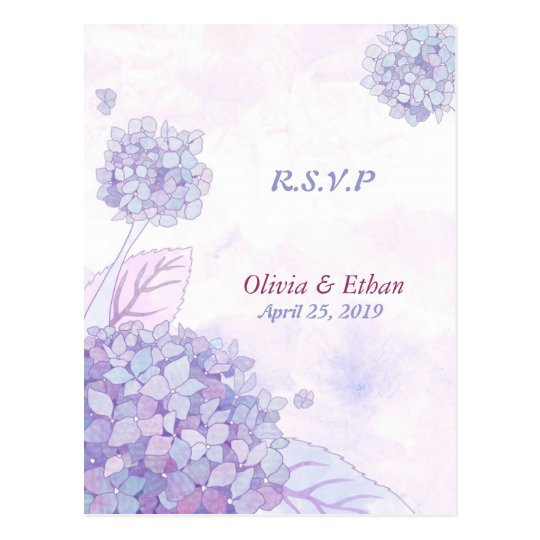 Lavender Hydrangeas Wedding Response Postcards