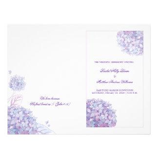 Lavender Hydrangeas White Wedding Folded Programs Flyer