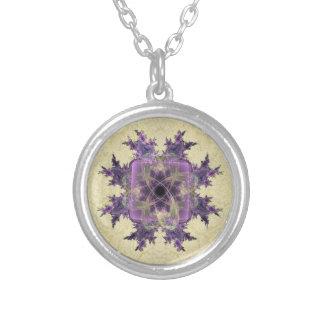 Lavender Ink Blot Round Pendant Necklace