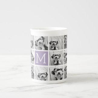 Lavender Instagram Photo Collage Custom Monogram Bone China Mug
