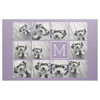 Lavender Instagram Photo Collage Custom Monogram Fabric