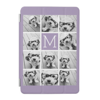 Lavender Instagram Photo Collage Custom Monogram iPad Mini Cover