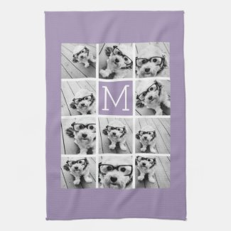 Lavender Instagram Photo Collage Custom Monogram Tea Towel