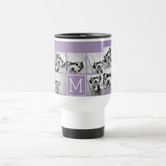 Lavender Instagram Photo Collage Custom Monogram Travel Mug