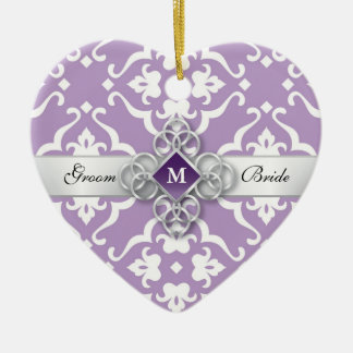 Lavender Jewel Damask Wedding Keepsake Christmas Ornament