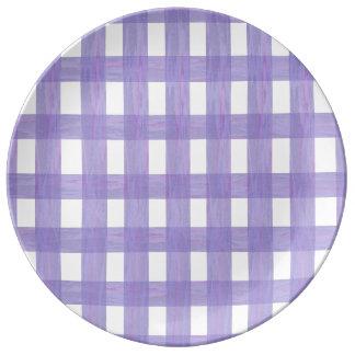 Lavender Lace Gingham Porcelain Plate