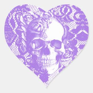Lavender lace rose skull heart sticker