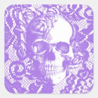 Lavender lace rose skull square sticker