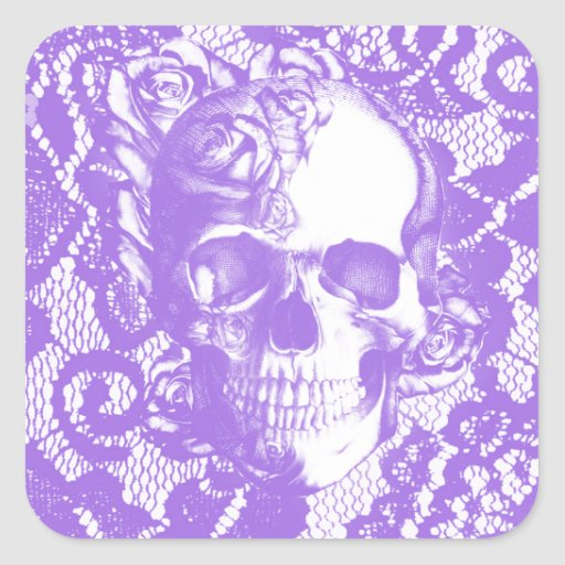 Lavender lace rose skull sticker