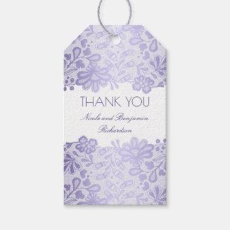 Lavender Lace White Elegant Wedding Gift Tags