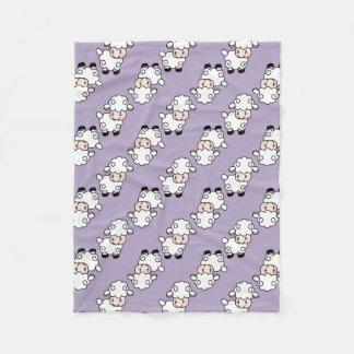 Lavender Lamb Sheep Fleece Blanket
