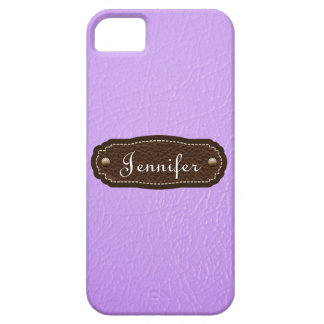 Lavender Leather Look personalized iPhone 5 case