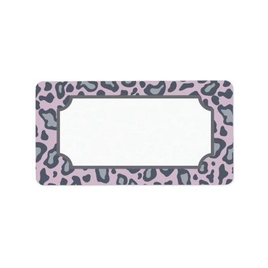 Lavender Leopard Print Label Address Label