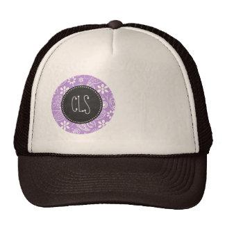 Lavender, Light Purple Paisley; Chalkboard look Cap