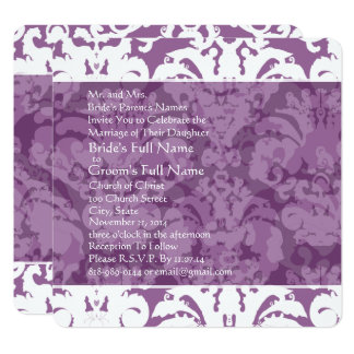 Lavender Lilac Damask Wedding Invitation