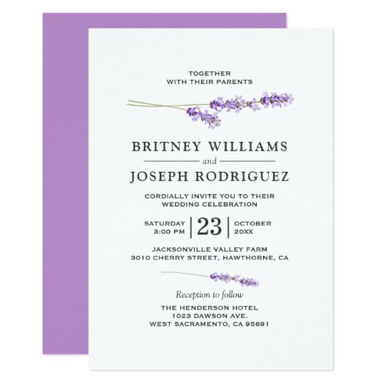 Lavender Lilac Floral Chic Wedding Card
