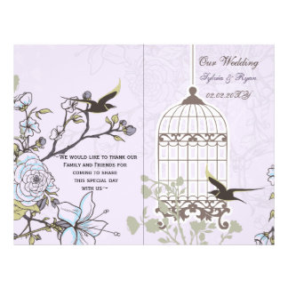 Lavender Lilac vintage birdcage birds wedding Flyer