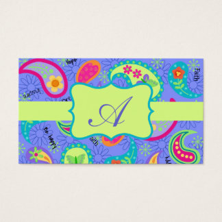 Lavender Lime Green Modern Paisley Monogram Business Card