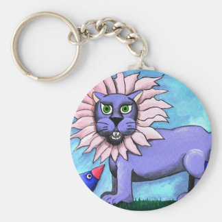 Lavender Lion Basic Round Button Key Ring