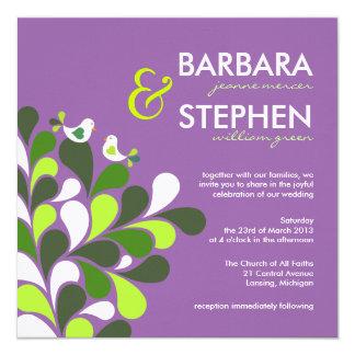 Lavender Love Birds - Linen Wedding Invitations