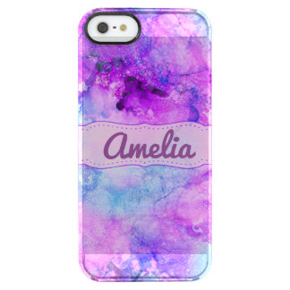 Lavender Marble Alcohol Ink Abstract Clear iPhone SE/5/5s Case