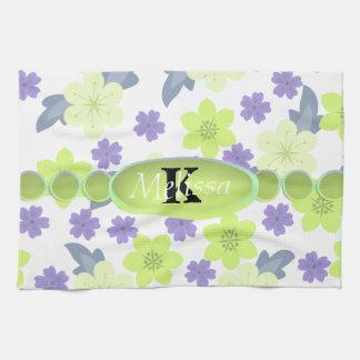 Lavender Mint Spring Flowers Monogram Tea Towel