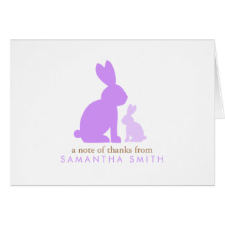 Lavender Mom and Baby Rabbit Thank You Notes Card