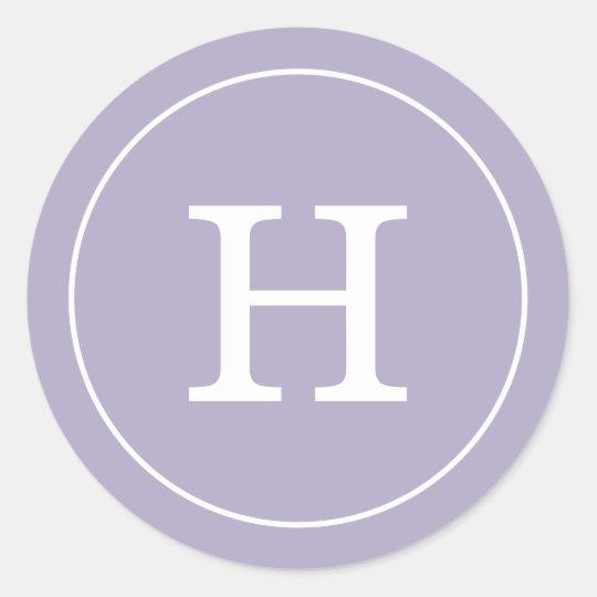 Lavender Monogram Classic Round Sticker