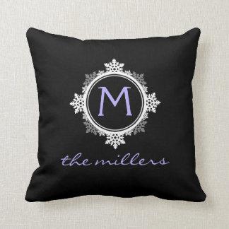 Lavender Monogram Snowflakes - Custom Chic Pillow
