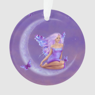 Lavender Moon Butterfly Fairy Round Ornament