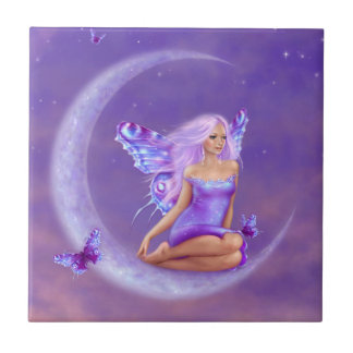 Lavender Moon Fairy Art Tile