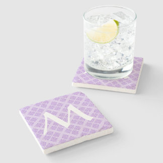 Lavender Moroccan Damask with Monogram Stone Coaster